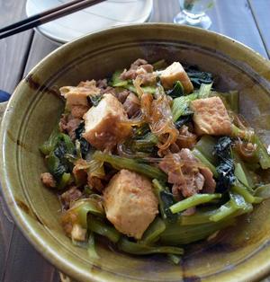 ボリューム満点♪小松菜、厚揚げ、豚肉の中華煮♪