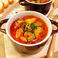 彩り野菜とマッシュルームの旨みたっぷり♪チキントマトスープ Chicken vegetable tomato soup with white mushroom -Recipe No.1496-