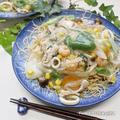 ついに完成★残り野菜で作る♬海鮮揚げ焼きそば(中華丼)