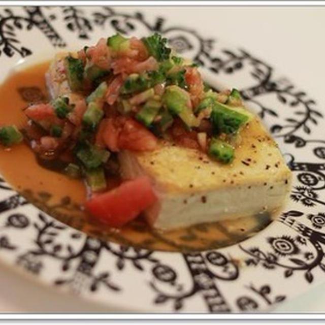 ゴーヤとトマトのソースで♪焼き豆腐サラダ