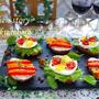 クリスマスに簡単★ストライプ&ドット柄のデザインブルスケッタ(レンジでパプリカマリネ)