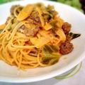 ポルペッティーネ(イタリア風ミートボール)とキャベツのトマトクリームスパゲティー