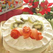 米粉と米油のスポンジケーキでクリスマスデコレーションケーキ<デコレーション編>