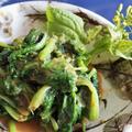 ■【菜の花の辛子酢味噌和え】里芋のスープと一緒でした。作り置き酢味噌活用で簡単!!