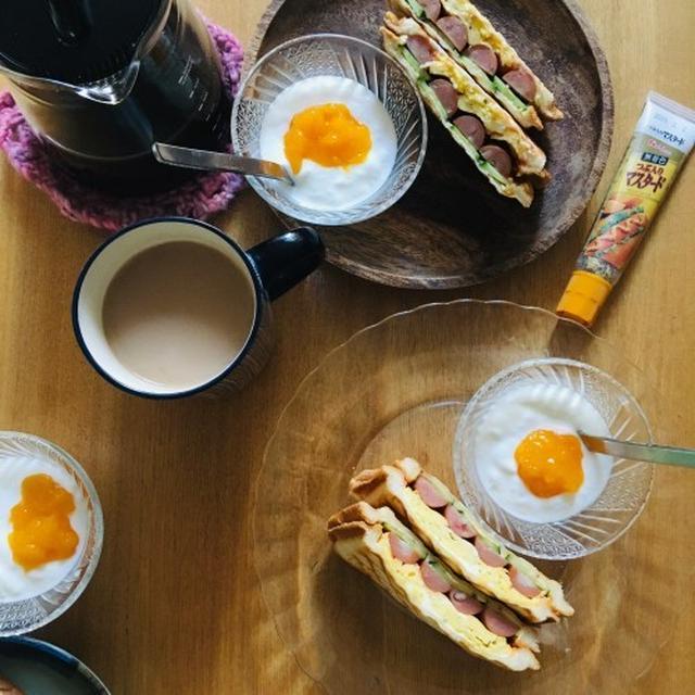 卵とソーセージの粒マスタード入りホットサンド