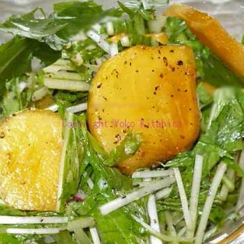 デイリー・レシピ~前菜、水菜と柿のサラダ R#80
