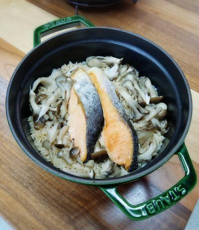 【鮭ときのこの炊き込みご飯】と金剛山!