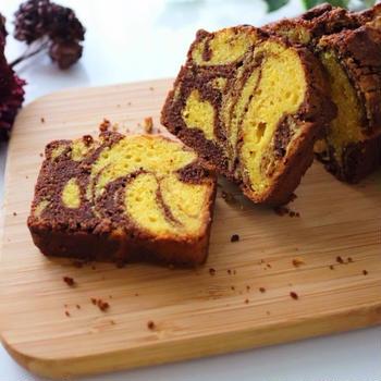 しっとり*かぼちゃとチーズのチョコマーブルパウンドケーキ【cotta掲載】