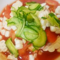 ダブルトマトと生トウモロコシの食べるスープ
