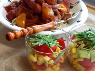 カラフルサラダとリメイクパスタ