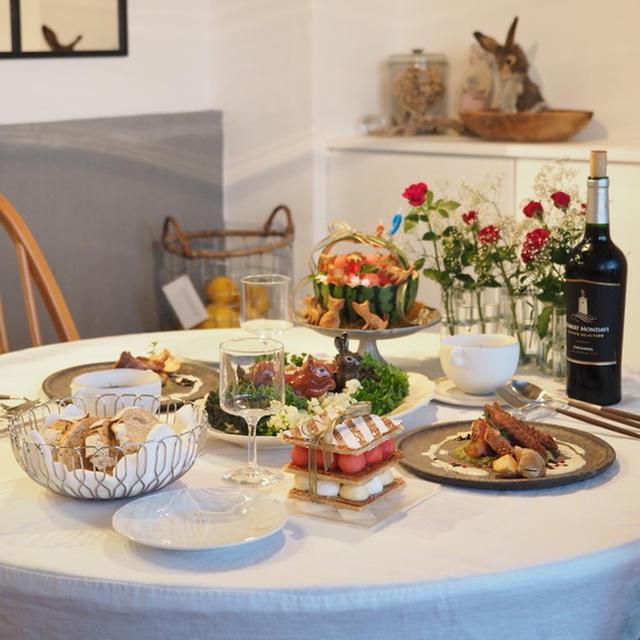 39歳のお誕生日ディナーの鴨ローストや森の卵の食卓と、食後のお誕生日会とミルフィーユ♪