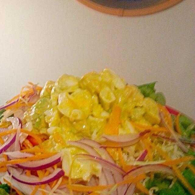 ダイエット1ヶ月目★アボたまサラダ
