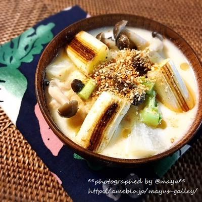 体調を整えるスープ『豆乳汁焼きネギ仕立て』。香ばしい香りがたまらない♡