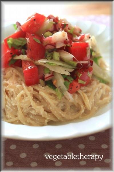 たことトマトとセロリの冷製お豆腐カッペリーニ