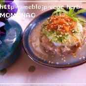 キムチとろろのせて(^^)レンジでふっくら蓮根だんごのスープ