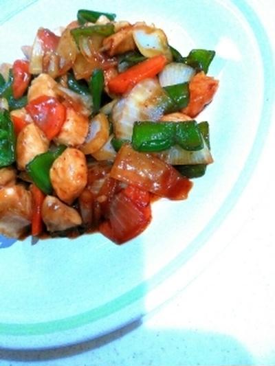 やきとりのたれで簡単味付☆やわらかムネ肉と野菜炒め