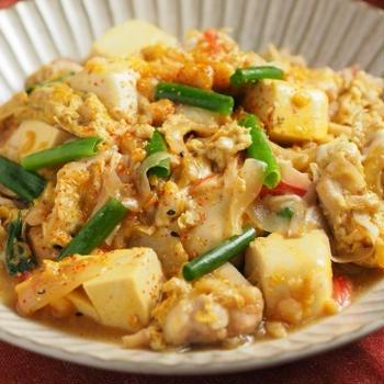 カレー豆腐の卵とじ、男前豆腐レシピ