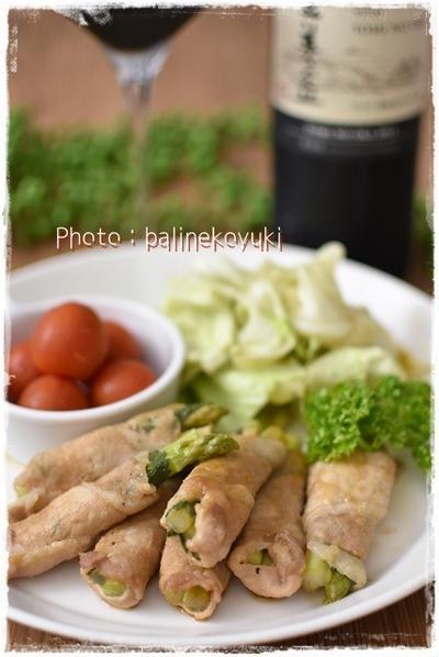 【日本ワインと和食】レンジで簡単2品!「豚肉のアスパラとしそ巻き」と残った煮汁も活用!「青しそ香るレンチンキャベツ」のワンプレート
