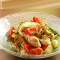 茹で鶏と野菜とめかぶのねばねば中華和え