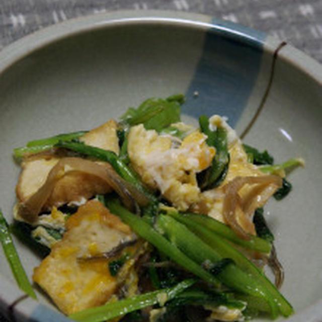 小松菜の卵とじ炒め☆厚揚げと搾菜のナンプラー風味:海のロケハン♪その②