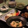 レシピ付き献立 たけのこご飯・鯛の香味ソースかけ・新じゃがの肉じゃが・そら豆のコロッケ・長いものポン酢かけ・姫皮のお味噌汁