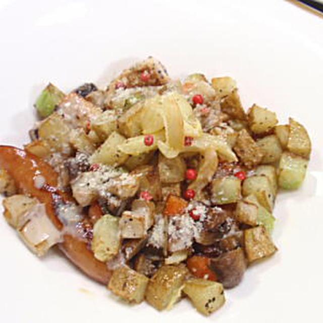 サイコロ野菜とチキン&ソーセージのグリル・バーニャカウダ風アンチョビソースがけ(レシピ付)