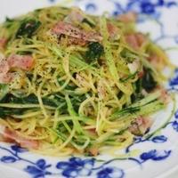 鍋ひとつで作る水菜とベーコンのスパゲティ