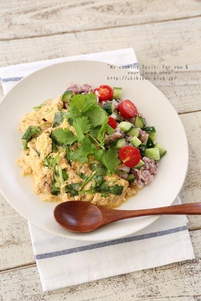【449kcal:ツナとパクチーのオムレツサラダごはん&パクチーレシピ】