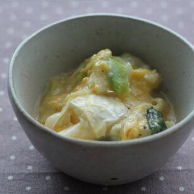 カマンベールとねぎの卵とじ
