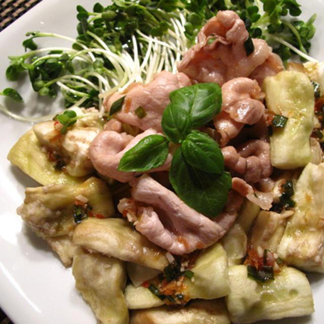 三種のタレで簡単に:豚しゃぶと茄子のアジア風、もやしときのこのレモンだれ、かぼちゃの玉ドレ