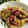 サツマイモとベーコンの炒め物クローブ風味