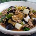 白ご飯のおかず♡【レシピ】茄子と長ネギのひき肉餡