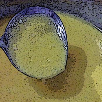 コーンスープ ~ 蒸し鶏の蒸し汁でのばす