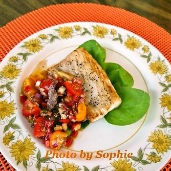 マヒマヒのグリル・パプリカトマトのサルサ添えのレシピ