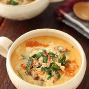 もやしと豆腐の坦々風ごま味噌スープ【#簡単 #時短 #節約 #レンジ #魚の日の汁物に #ダイエット #スープ】