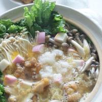 「鶏のから揚げ鍋(レシピ)」「にんじんの明太和え」「ひじきの梅煮」他