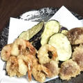 茄子の挟み揚げと椎茸の肉詰め天ぷら 《 #なす #椎茸 #豚ひき肉 #鶏みんち 》