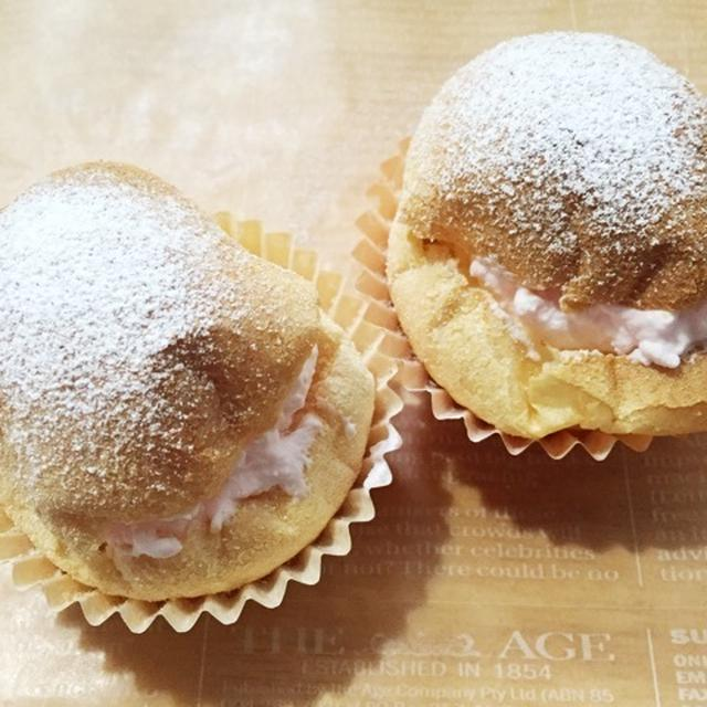 桜色のクリームで春らしく♡「ポップオーバーのシュークリーム風」