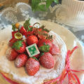 手軽にスフレチーズケーキに苺を飾ってクリスマスケーキ~銅板使用でフランスパン ♪♪