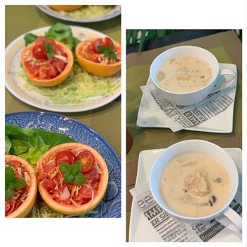 簡単むきエビのクリームスープに可愛いグレープフルーツのカップサラダ
