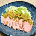 低温調理で柔らかゆで豚のさっぱりごまだれ。お肉がジューシーなおつまみ。