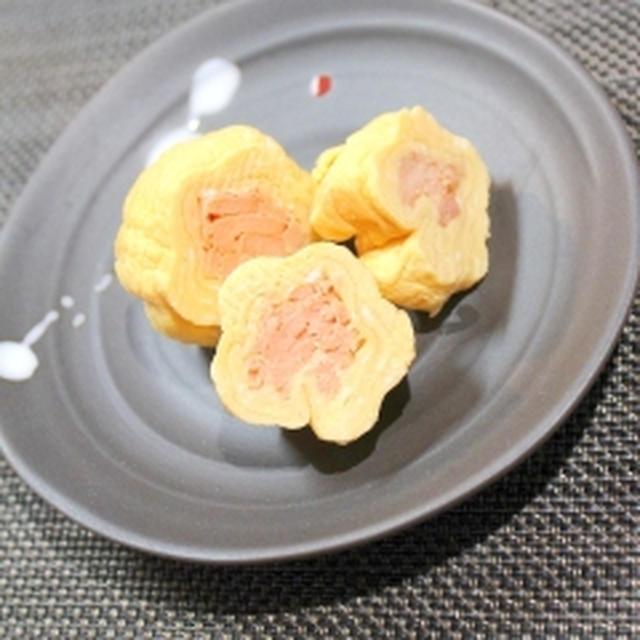 糖質オフ☆焼き鮭の卵焼き♪花型の卵焼き☆お弁当のすきまおかずにも☆