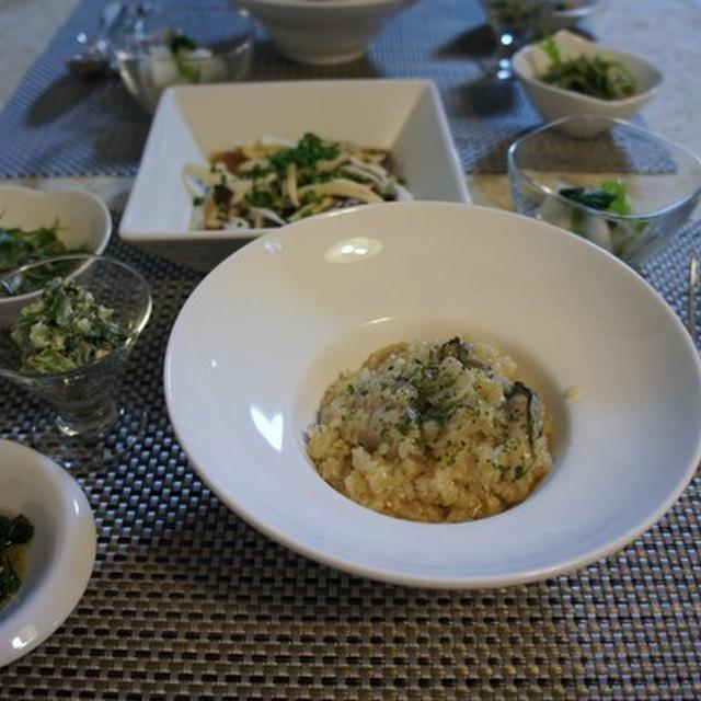牡蠣のオイル漬けで玄米リゾット 蕪の葉のマスカル和え