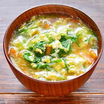 水菜と卵のとろみ汁