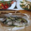 丸のままの魚のパピヨット&人参とミニパプリカのロースト