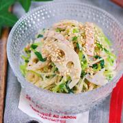 ごまマヨ de こく旨♪『レンコンと豆苗の春雨サラダ』【作り置き*節約*お弁当】