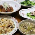 レシピ付き献立 肉団子の甘酢あんかけ・バンバンジー・小松菜の塩炒め・チャーハン・卵とレタスのスープ