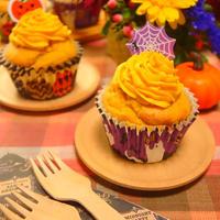 材料を混ぜて焼くだけなのでお手軽~★ハロウィンにもおすすめ~♪かぼちゃチーズクリームもたっぷり~!ジンジャーパンプキンマフィン -Recipe No.1638-【Japanese】