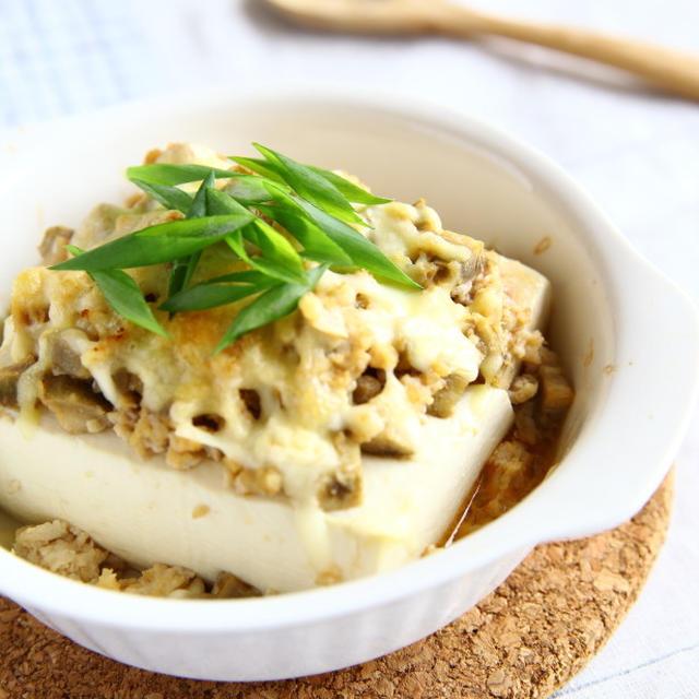 ピリ辛鶏そぼろの豆腐グラタン