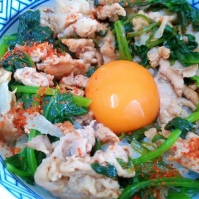 栄養タップリ☆また食べたくなる月見豚丼 / 雪